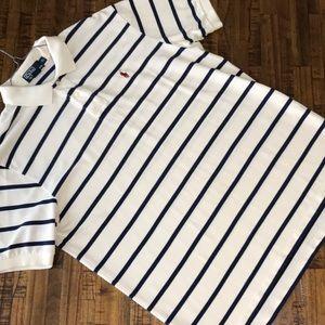 Men's XL Polo Ralph Lauren cream with navy stripes